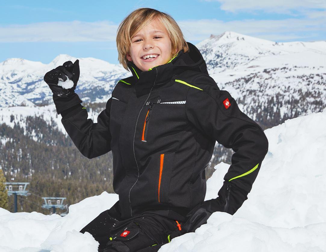 Vestes: Veste softshell d'hiver e.s.motion 2020, enfants + noir/jaune fluo/orange fluo