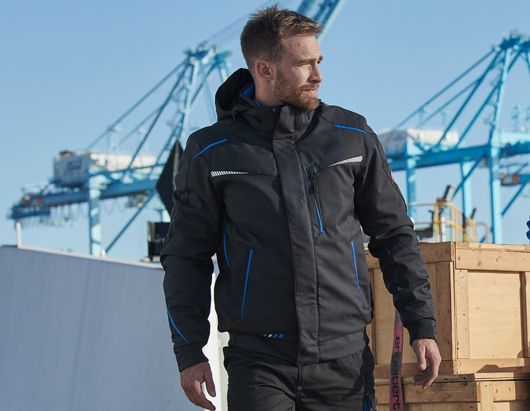 Work Jackets: Winter softshell jacket e.s.motion 2020, men's + graphite/gentian blue
