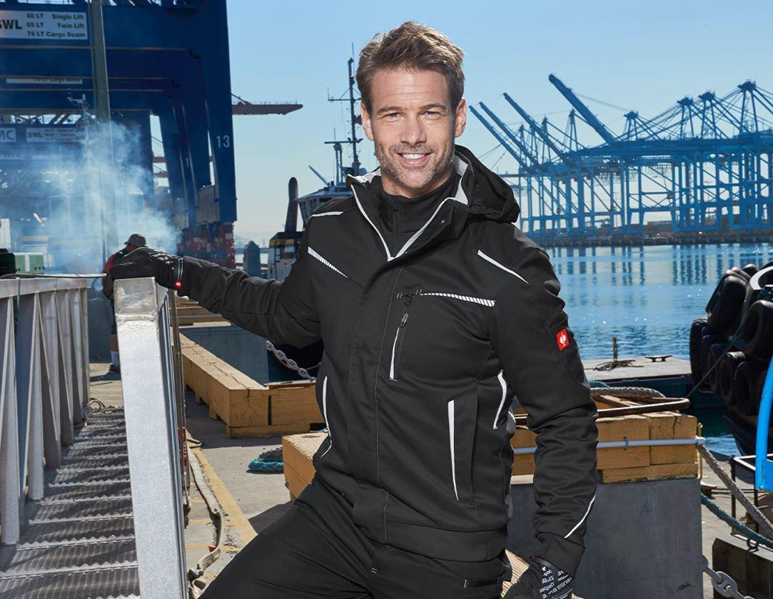 Work Jackets: Winter softshell jacket e.s.motion 2020, men's + black/platinum