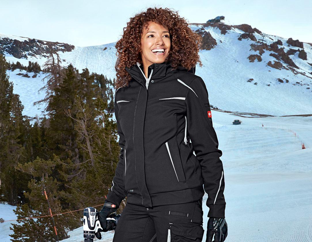 Vestes de travail: Veste softshell d'hiver e.s.motion 2020, femmes + noir/platine