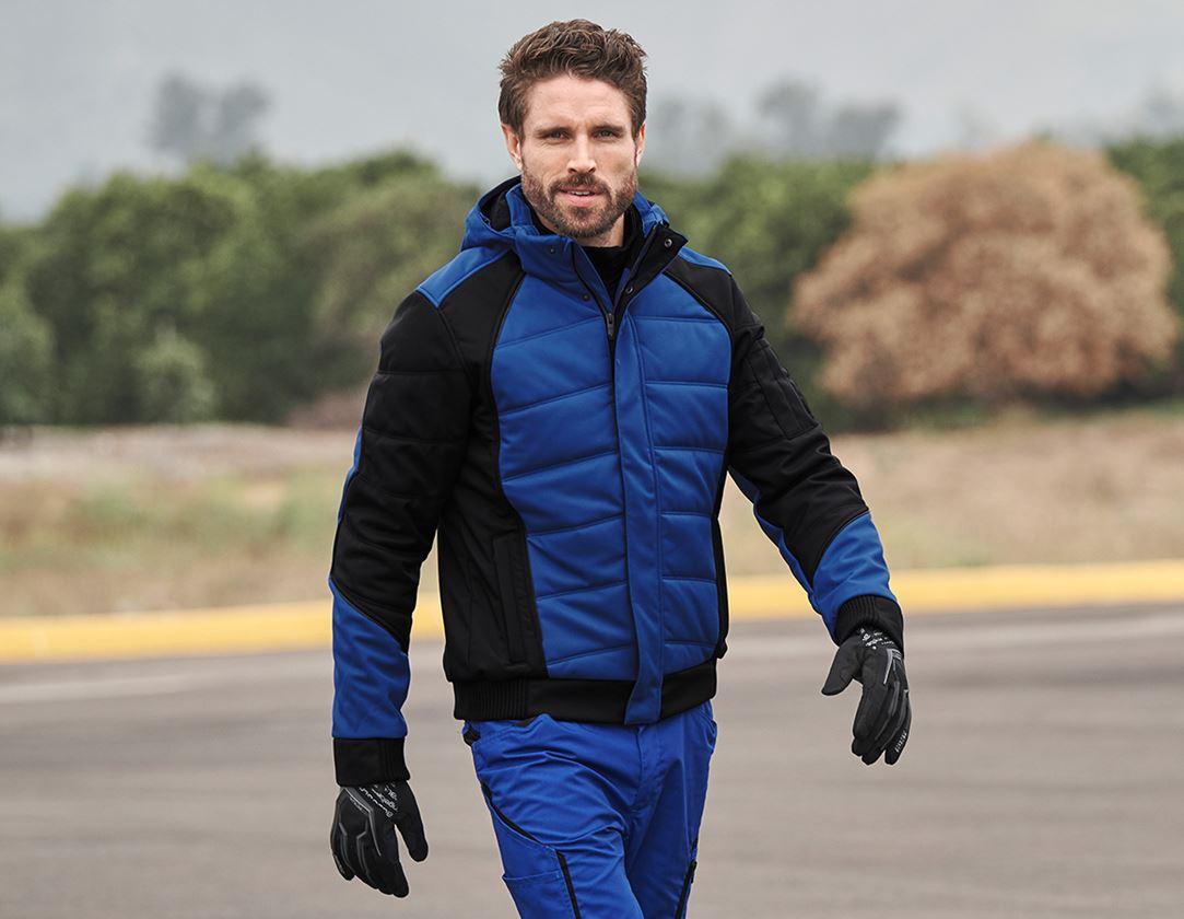 Work Jackets: Winter softshell jacket e.s.vision + royal/black