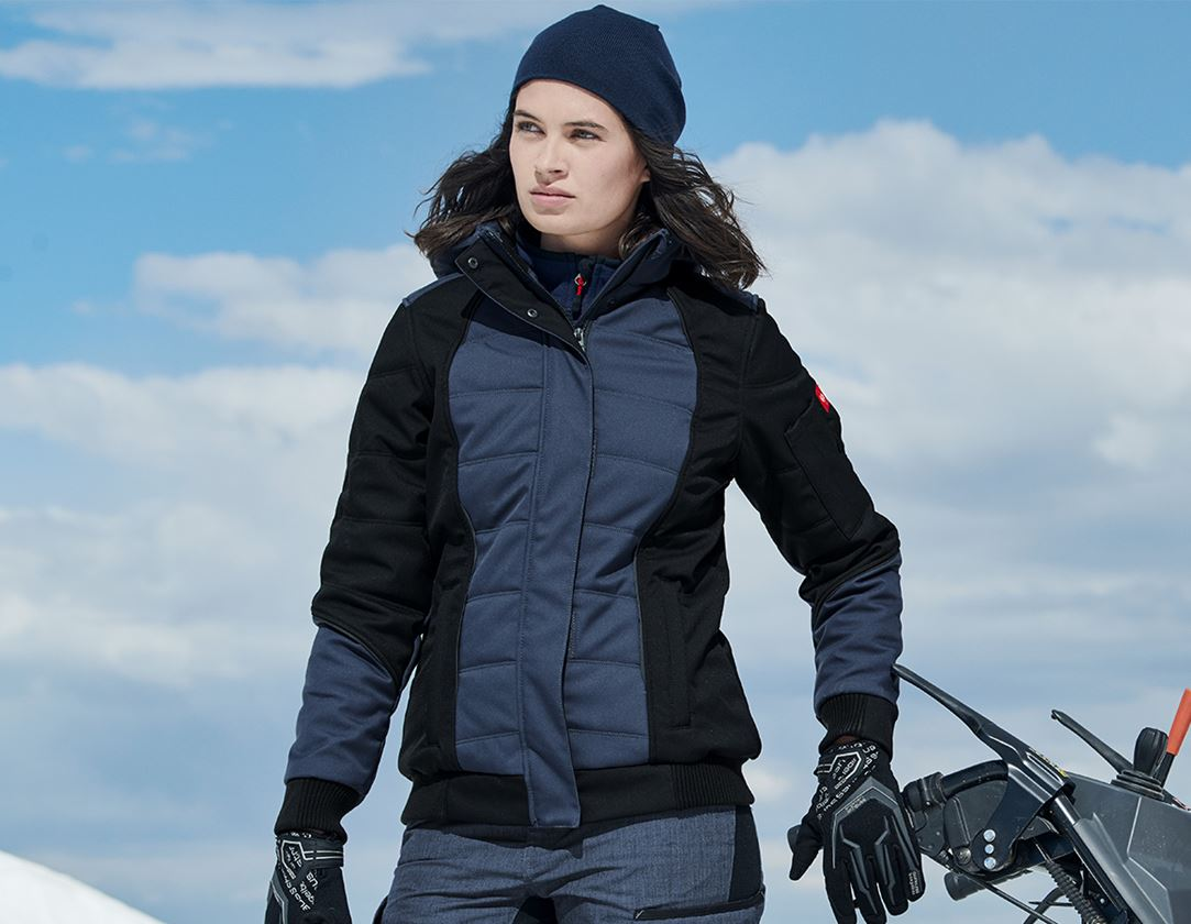 Work Jackets: Winter softshell jacket e.s.vision, ladies' + pacific/black