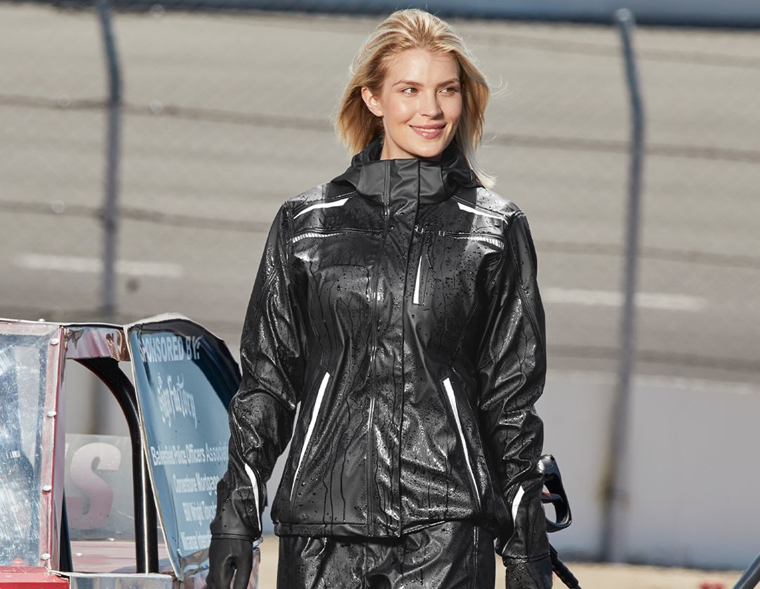 Work Jackets: Rain jacket e.s.motion 2020 superflex, ladies + black/platinum