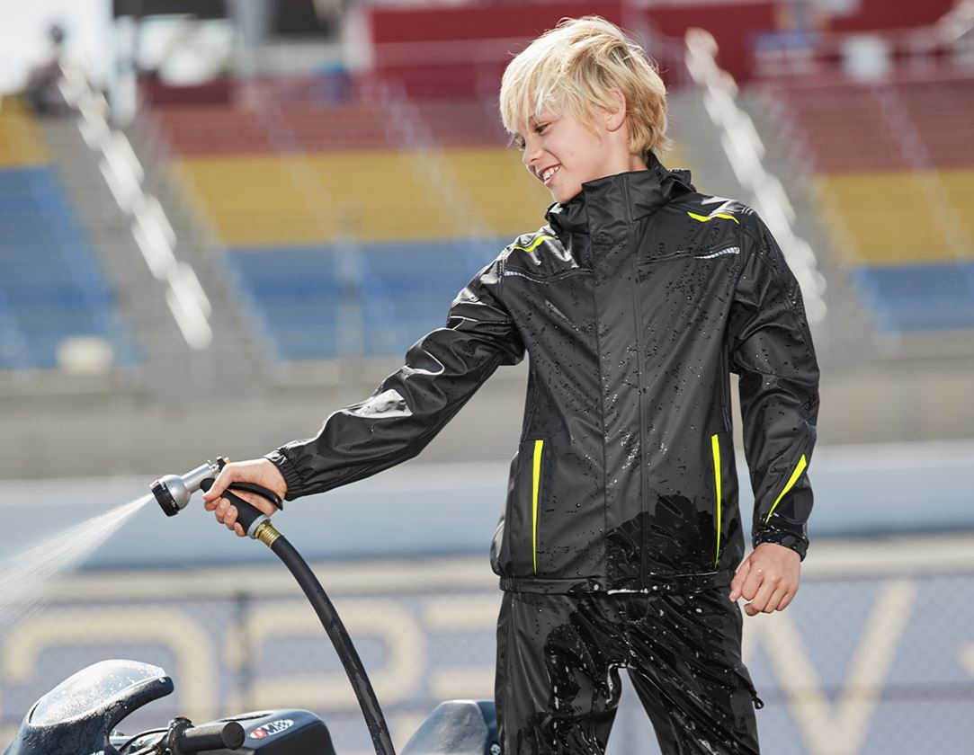 Jacken: Regenjacke e.s.motion 2020 superflex,Kinder + schwarz/warngelb/warnorange