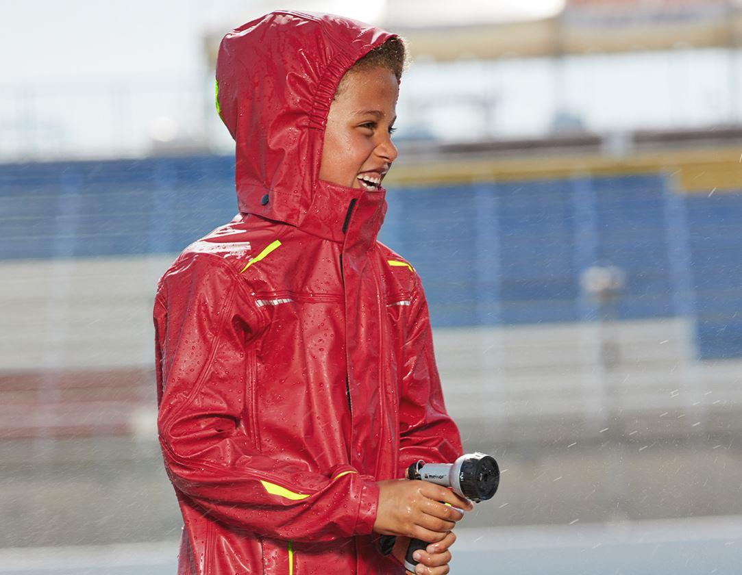 Jackets: Rain jacket e.s.motion 2020 superflex, children's + fiery red/high-vis yellow