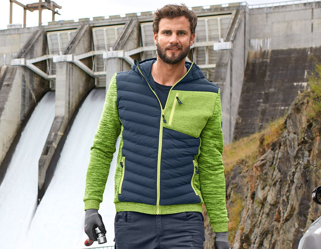 Work Jackets: Hybrid hooded knitted jacket e.s.motion ten + slateblue/high-vis yellow melange