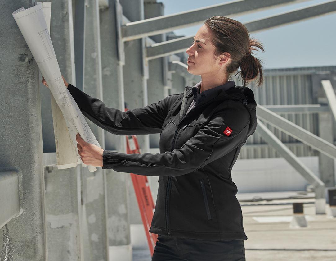 Work Jackets: Softshell jacket e.s.vision, ladies' + black