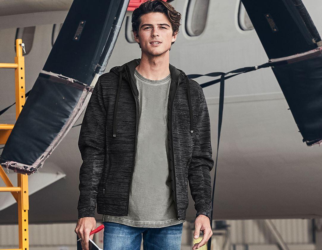 Vestes de travail: Veste coupe-vent en tricot capuche e.s.motion ten + noir oxyde mélange