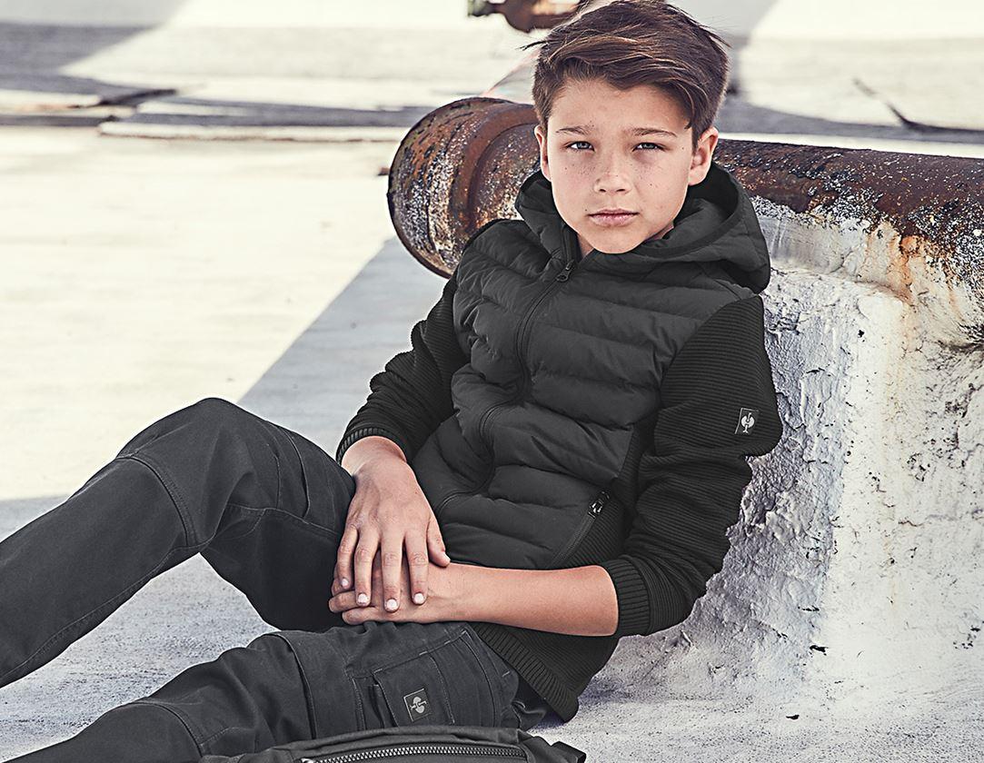 Jacken: Hybrid Kapuzenstrickjacke e.s.motion ten,Kinder + schwarz