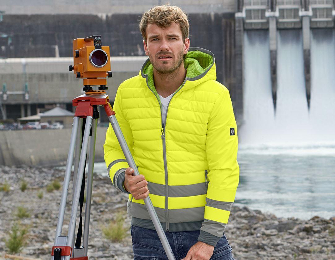 Work Jackets: High-vis reversible jacket e.s.motion ten + high-vis yellow/granite