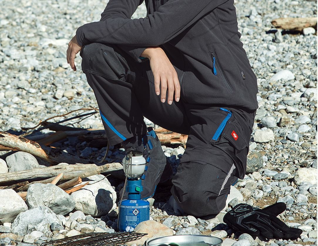 Work Trousers: Ladies' trousers e.s.motion 2020 winter + graphite/gentian blue