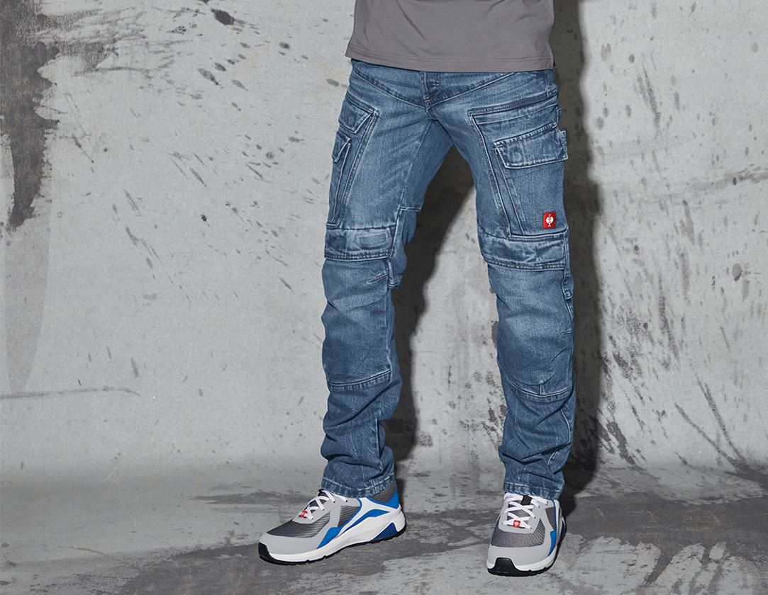 Work Trousers: e.s. Cargo worker jeans POWERdenim + stonewashed