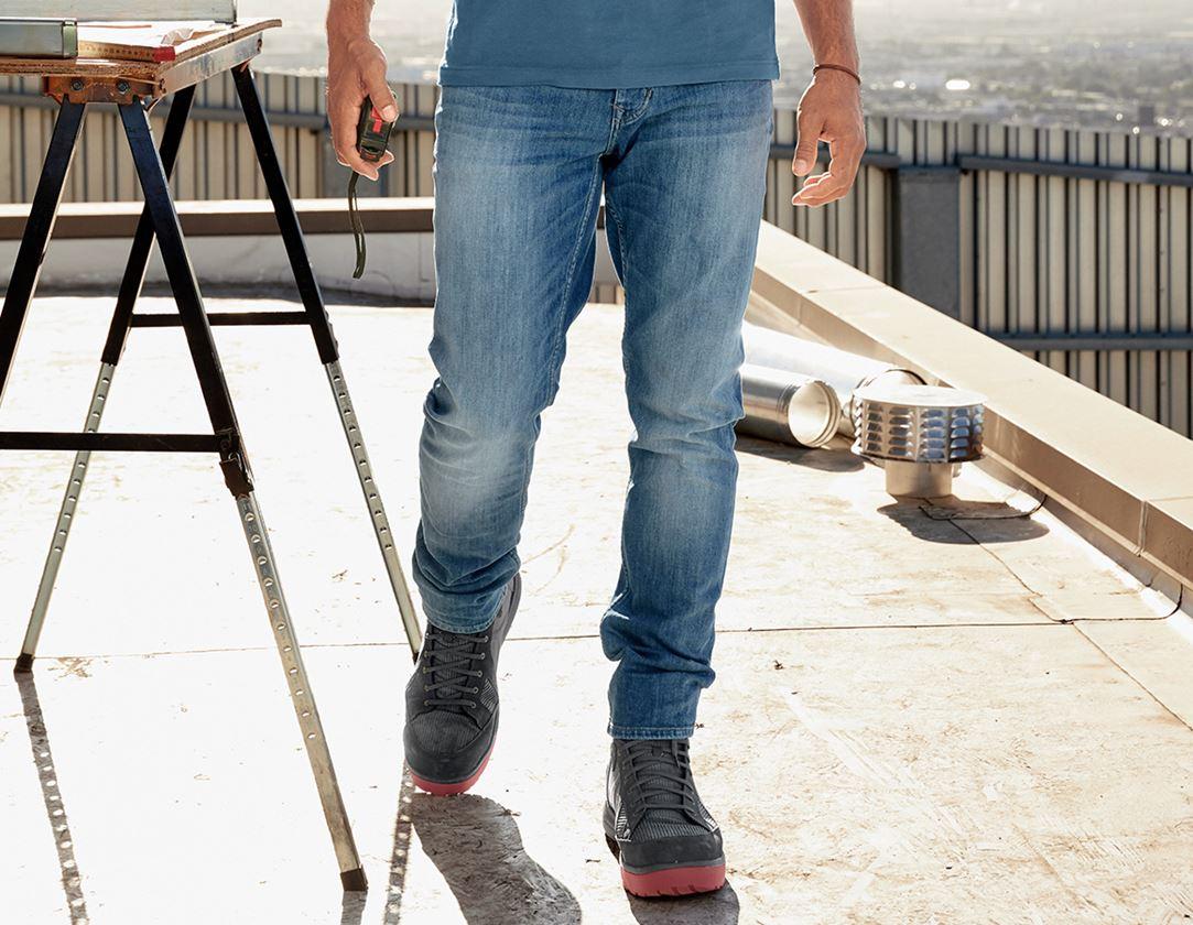 Work Trousers: e.s. 5-pocket stretch jeans, slim + stonewashed