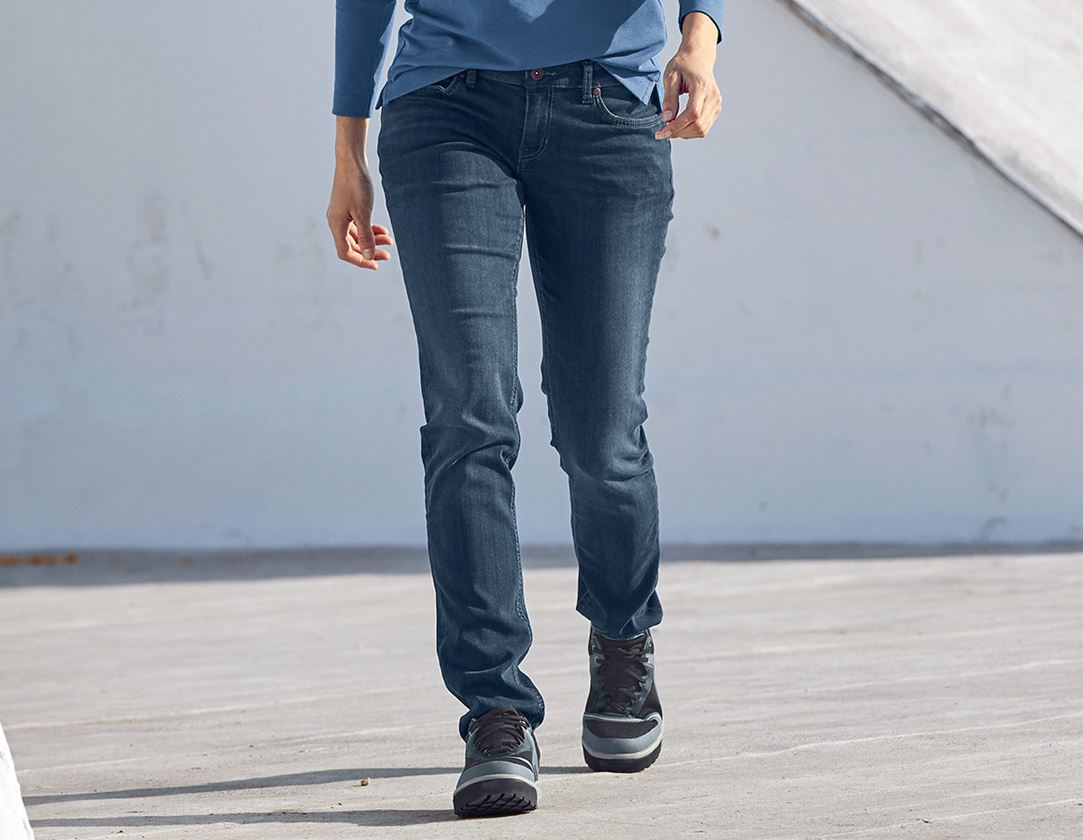 Work Trousers: e.s. 5-pocket stretch jeans, ladies' + mediumwashed