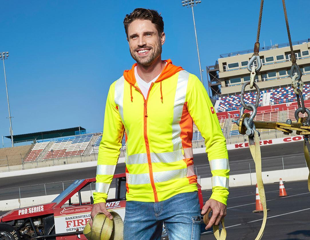 Vestes de travail: Veste à capuche foncti. de signal. e.s.motion 2020 + jaune fluo/orange fluo