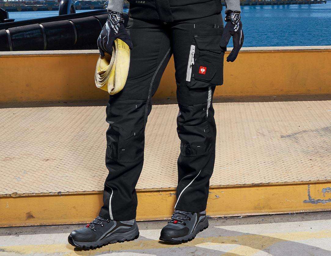 Work Trousers: Ladies' trousers e.s.motion 2020 + black/platinum