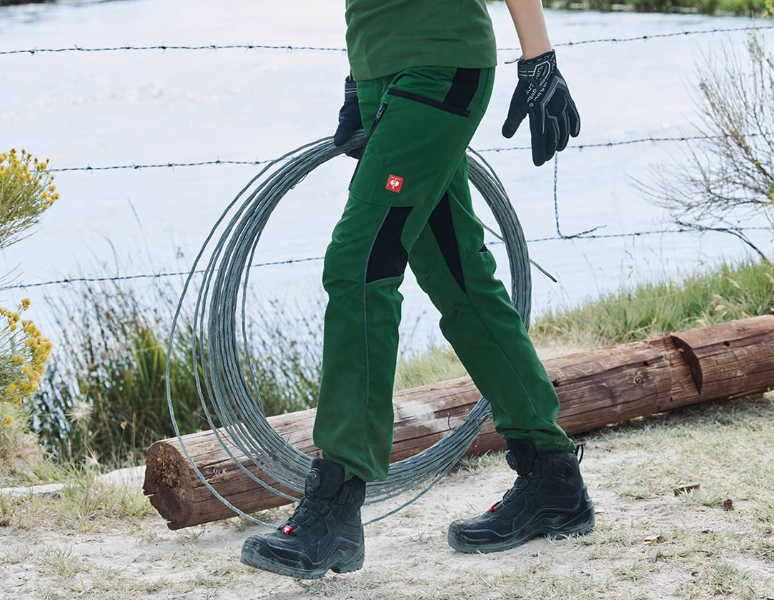 Work Trousers: Ladies' trousers e.s.vision + green/black