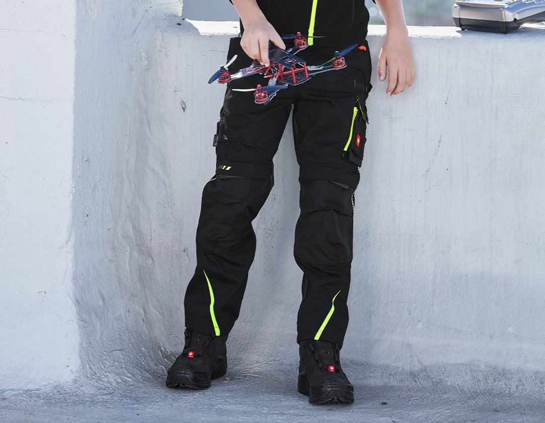 Trousers: Winter trousers e.s.motion 2020, children's + black/high-vis yellow/high-vis orange