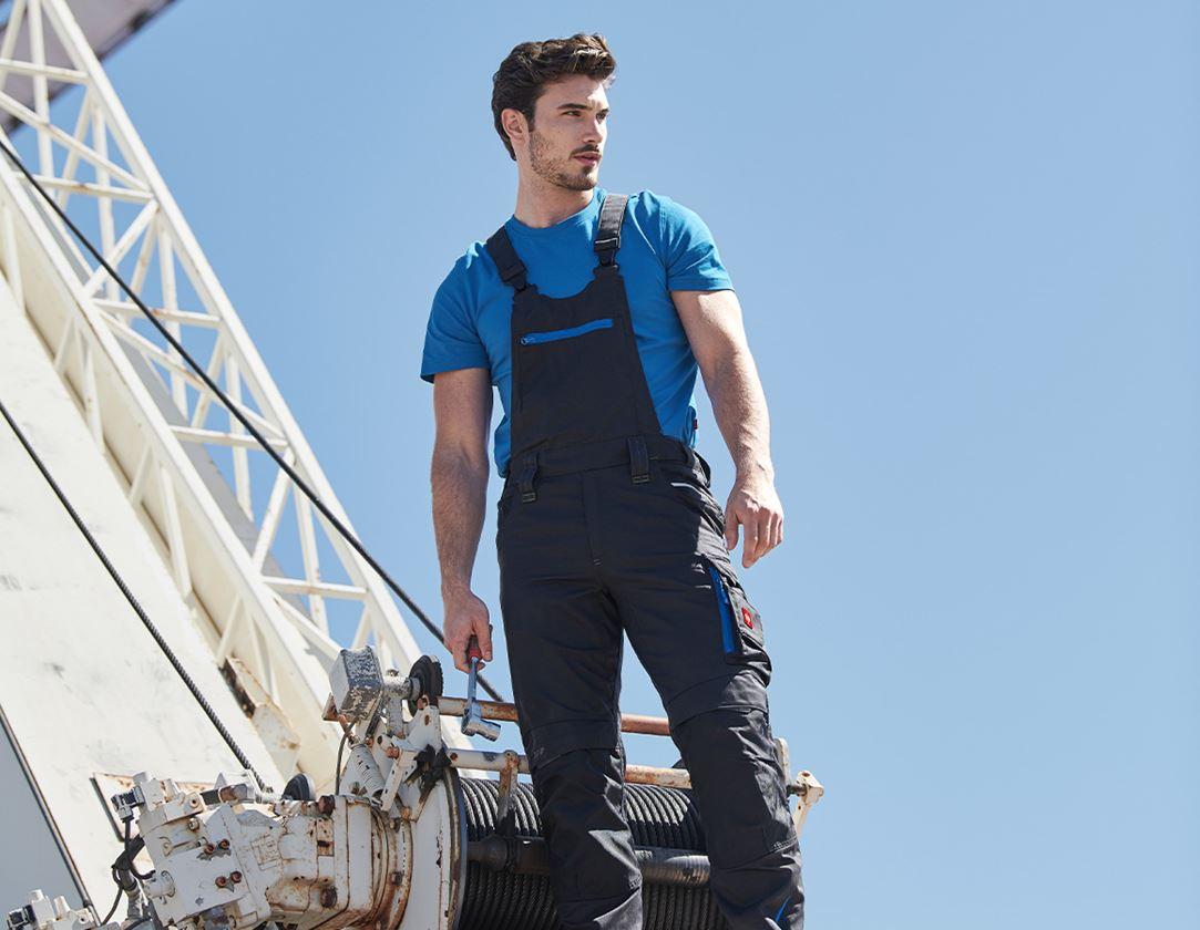 Work Trousers: Bib & brace e.s.motion 2020 + graphite/gentian blue