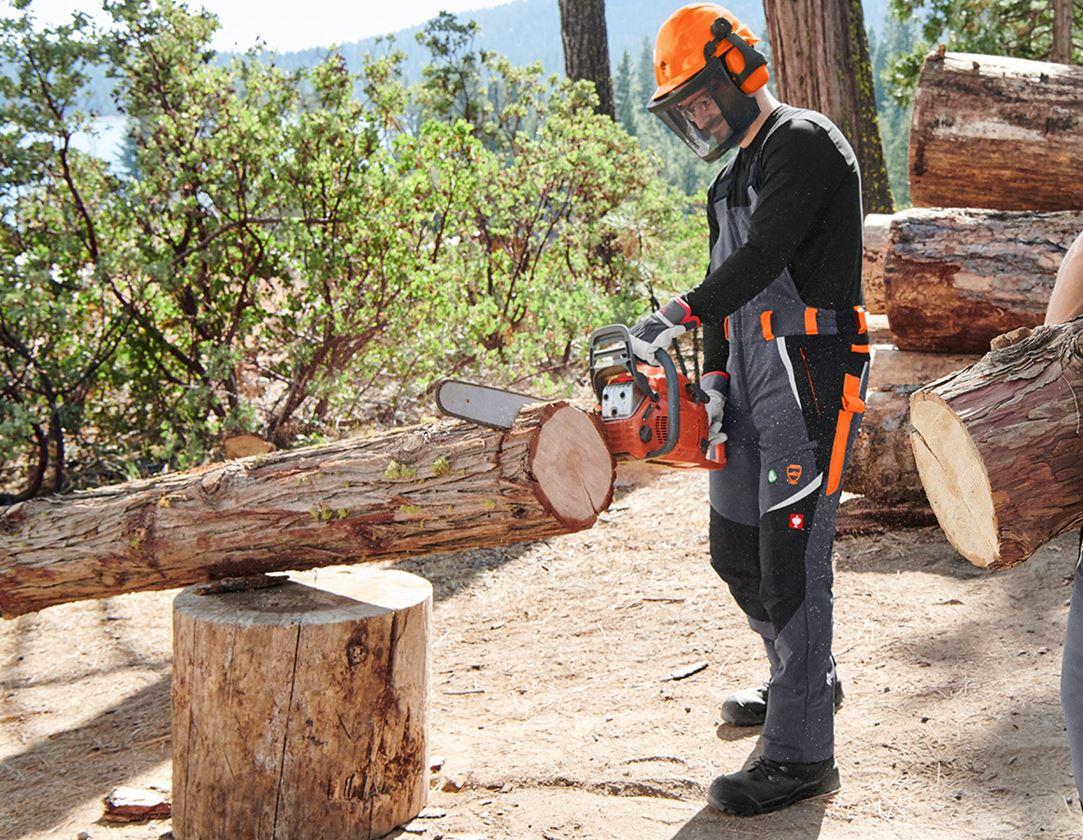 Work Trousers: e.s. Forestry cut protection bib & brace, KWF + grey/high-vis orange