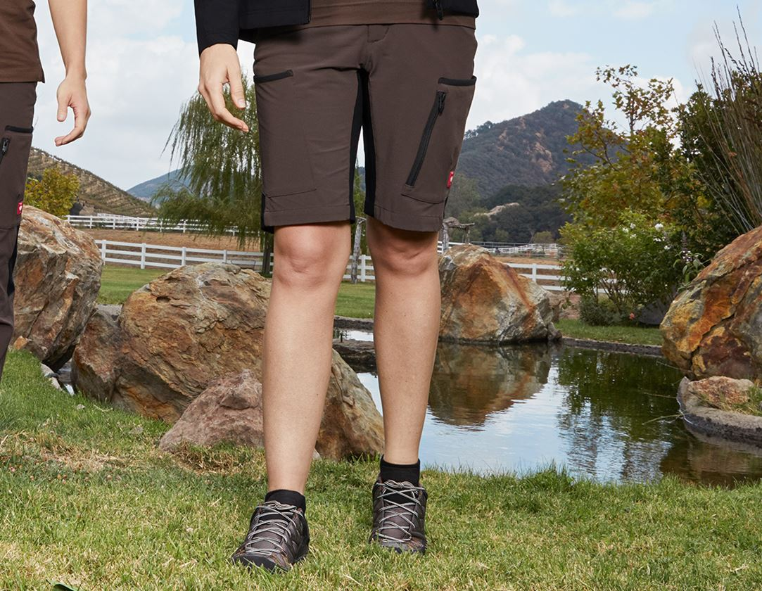 Work Trousers: Shorts e.s.vision stretch, ladies' + chestnut/black