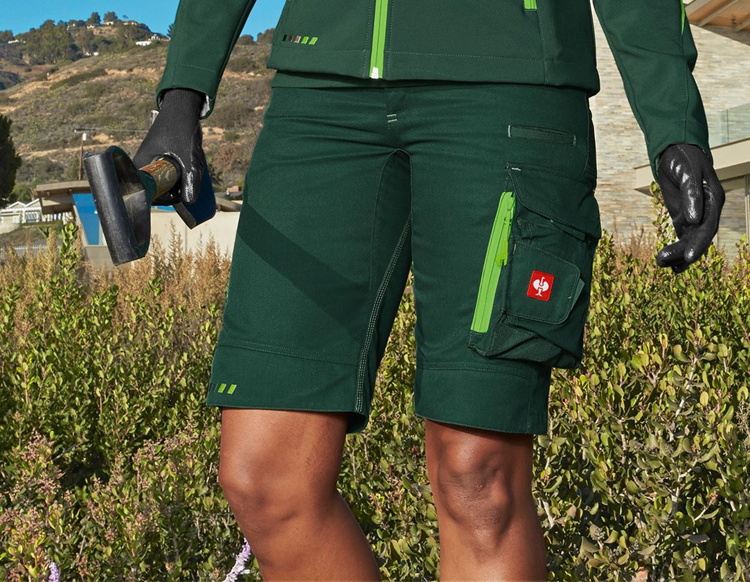 Work Trousers: Shorts e.s.motion 2020, ladies' + green/seagreen