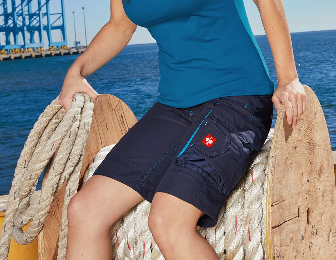 Work Trousers: Shorts e.s.motion 2020, ladies' + navy/atoll