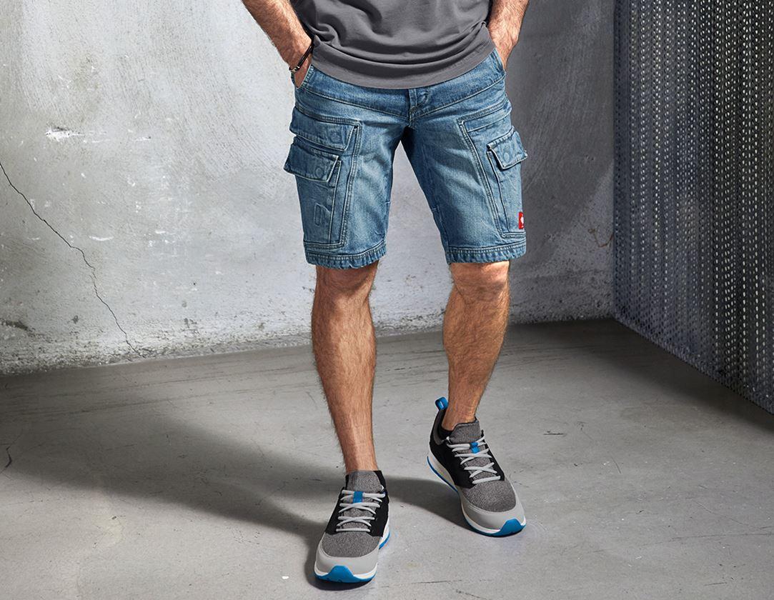 Work Trousers: e.s. Cargo worker shorts POWERdenim + stonewashed