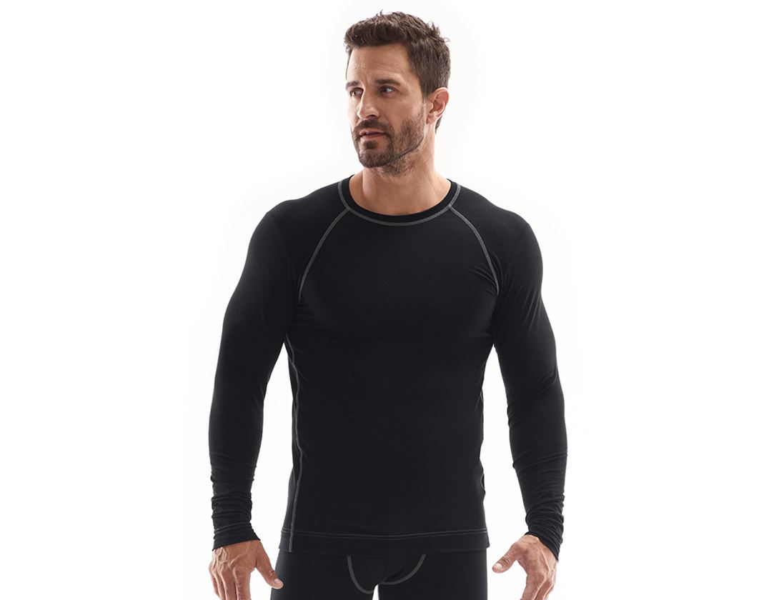 Underwear   Functional Underwear: e.s. cotton stretch long sleeve basis-light + black
