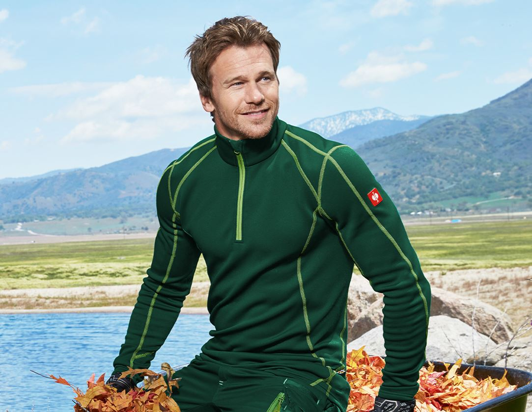 Shirts, Pullover & more: Functional-Troyer thermo stretch e.s.motion 2020 + green/seagreen