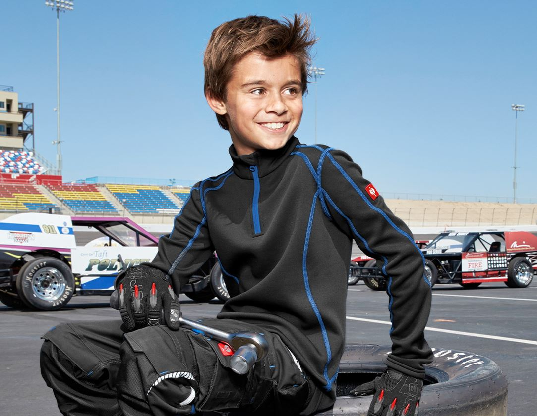 Shirts, Pullover & more: Funct.Troyer thermo stretch e.s.motion 2020 child. + graphite/gentian blue