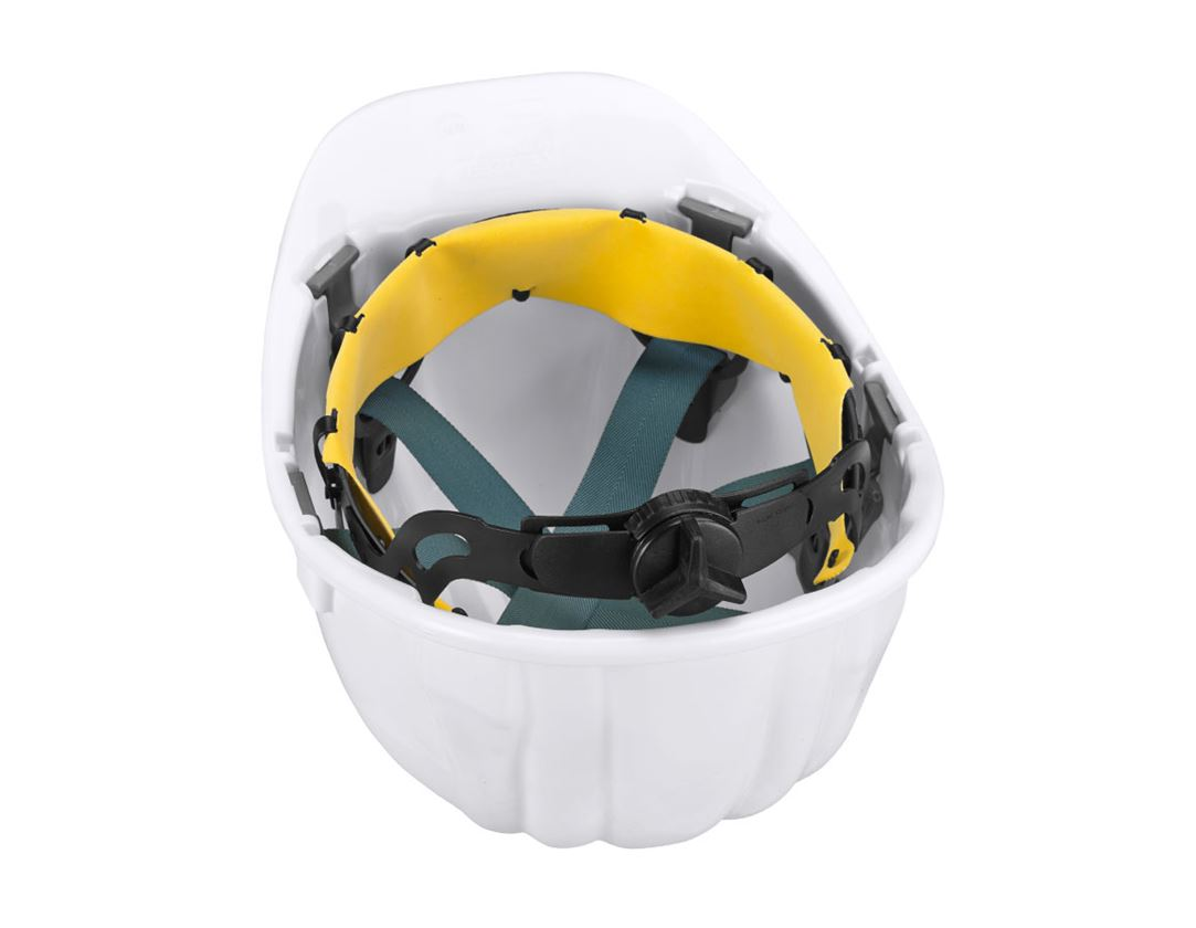 Hard Hats: Safety helmet Baumeister, 6-point, rotary fastener + white