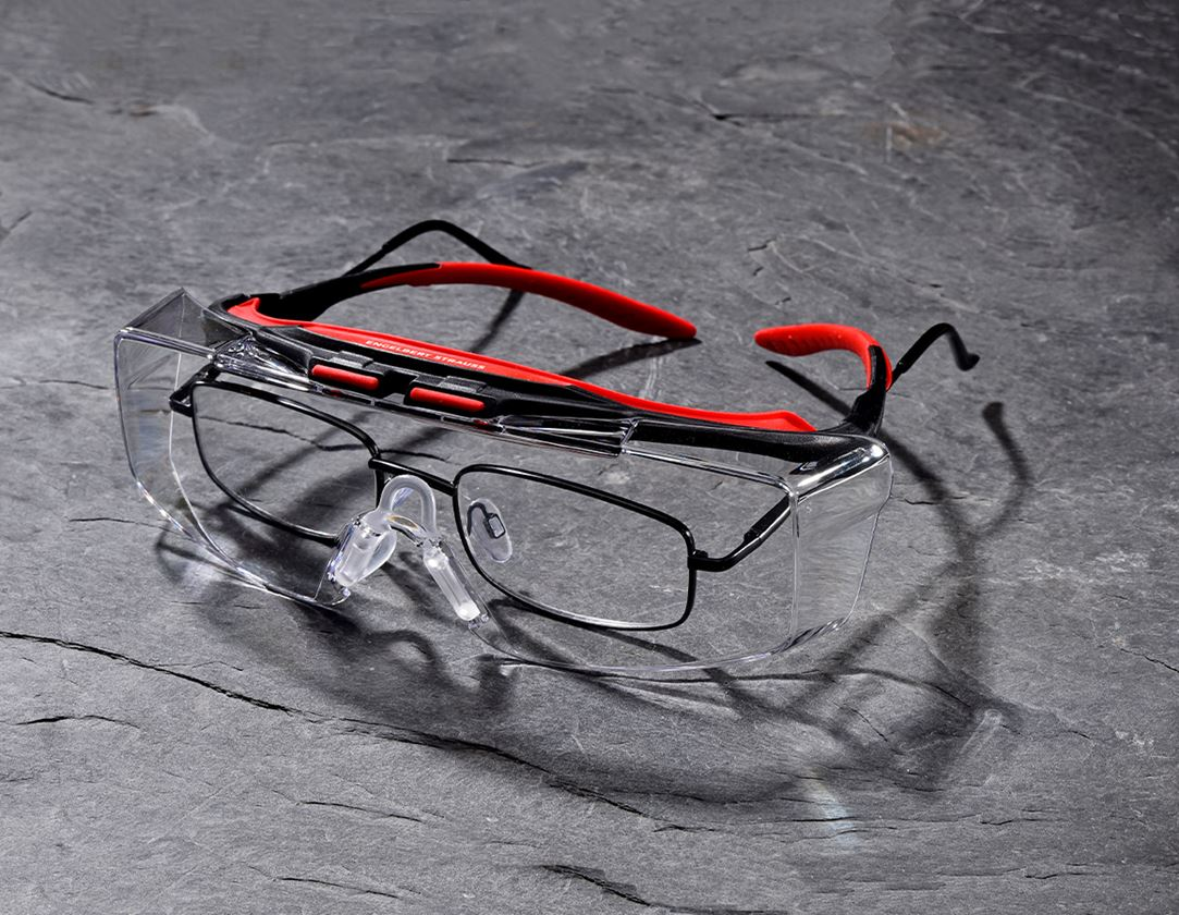 Safety Glasses: e.s. Safety glasses / over-goggles Loras + clear/red/black