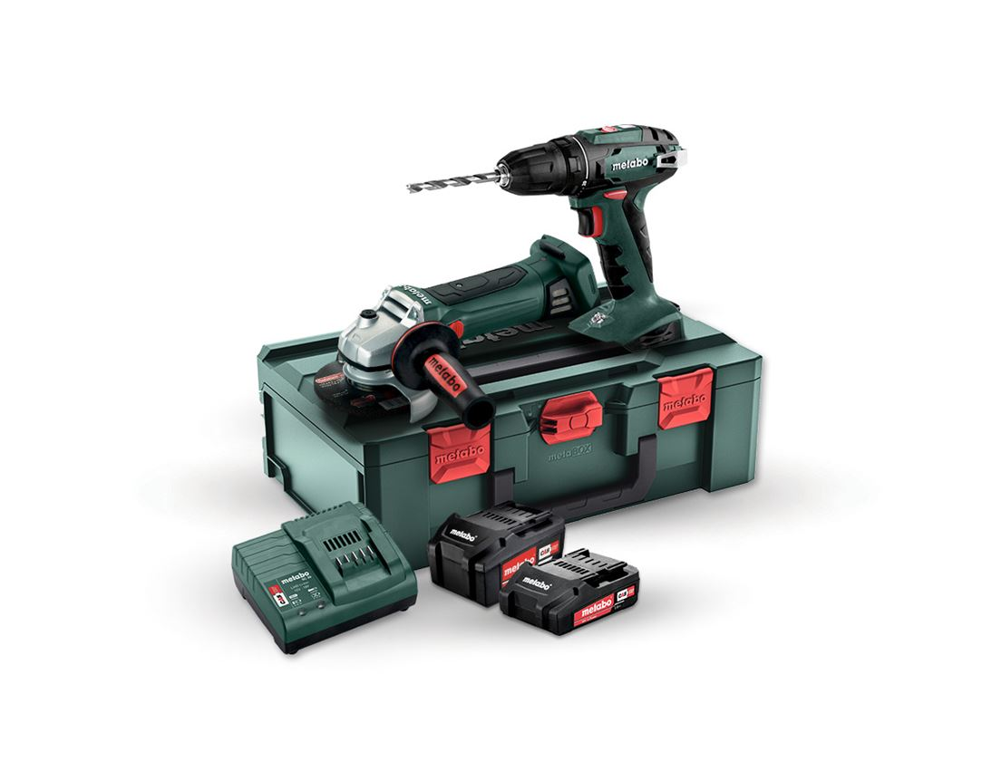 Electrical tools: Metabo 18V batt. angle grinder W125+Cordl.drill