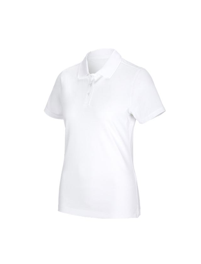 Shirts & Co.: e.s. Funktions Polo-Shirt poly cotton, Damen + weiß