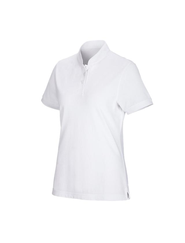 Shirts, Pullover & more: e.s. Polo shirt cotton Mandarin, ladies' + white