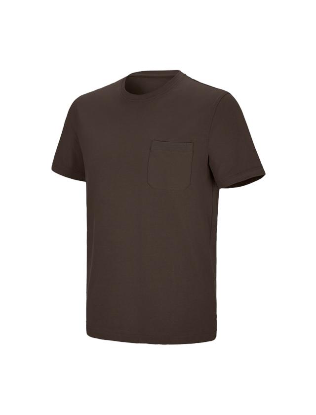 Shirts & Co.: e.s. T-Shirt cotton stretch Pocket + kastanie