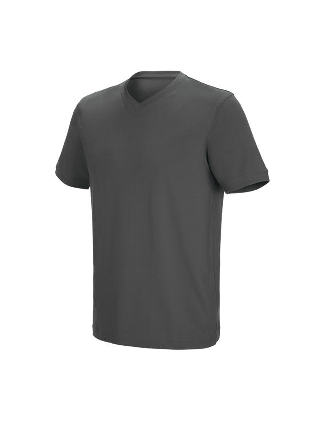 Shirts & Co.: e.s. T-Shirt cotton stretch V-Neck + anthrazit
