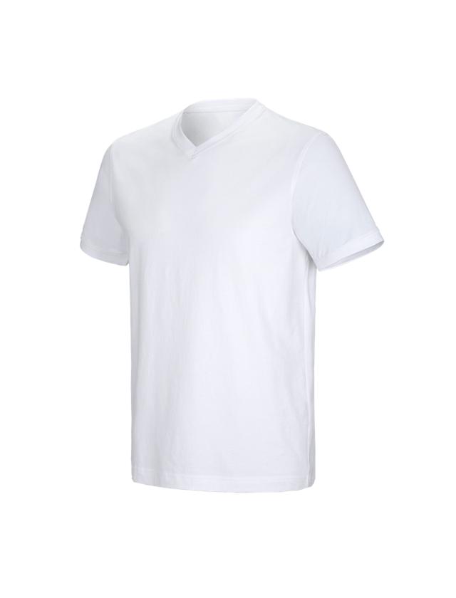 Shirts & Co.: e.s. T-Shirt cotton stretch V-Neck + weiß