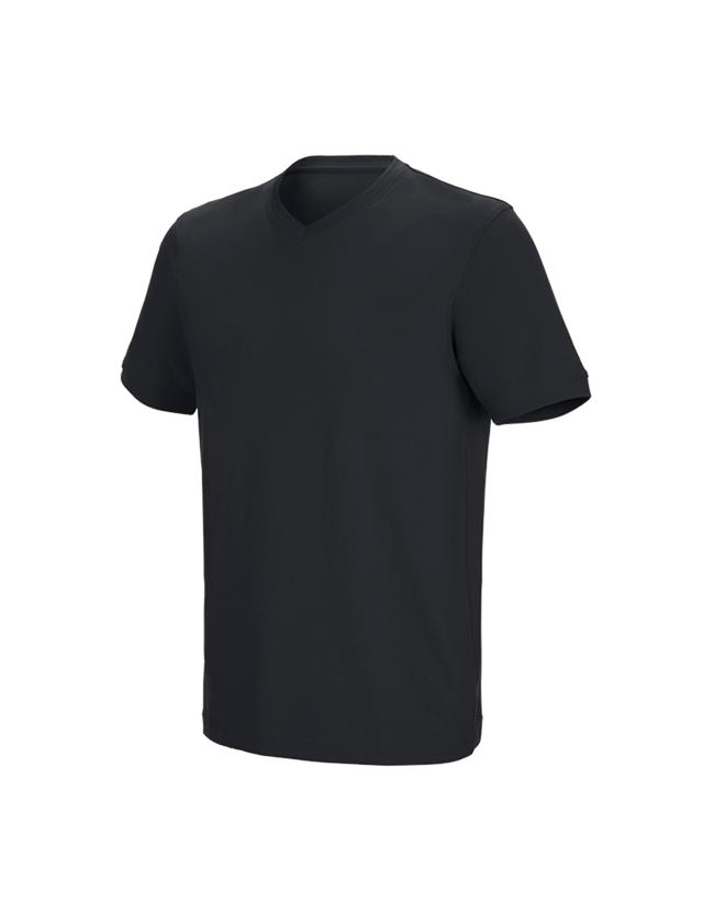 Shirts, Pullover & more: e.s. T-shirt cotton stretch V-Neck + black