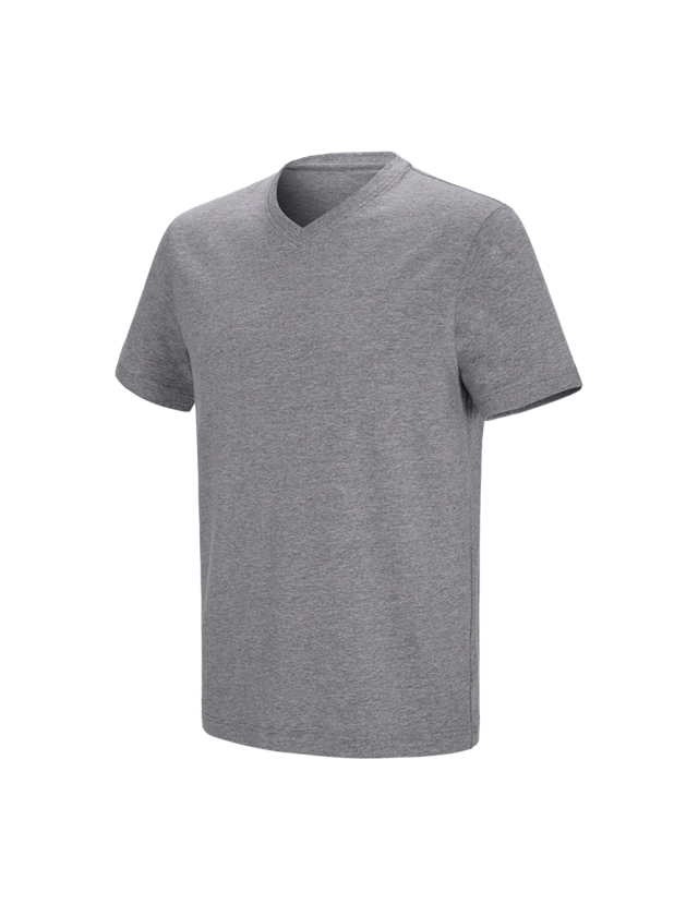 Shirts & Co.: e.s. T-Shirt cotton stretch V-Neck + graumeliert