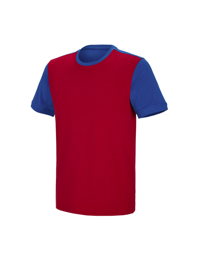 Shirts, Pullover & more: e.s. T-shirt cotton stretch bicolor + fiery red/royal