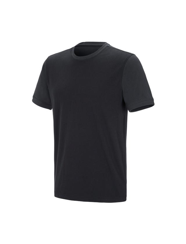 Shirts & Co.: e.s. T-Shirt cotton stretch bicolor + schwarz/graphit