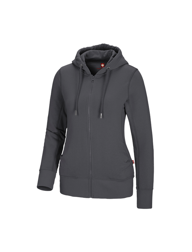 Shirts, Pullover & more: e.s. Hoody sweatjacket poly cotton, ladies' + anthracite