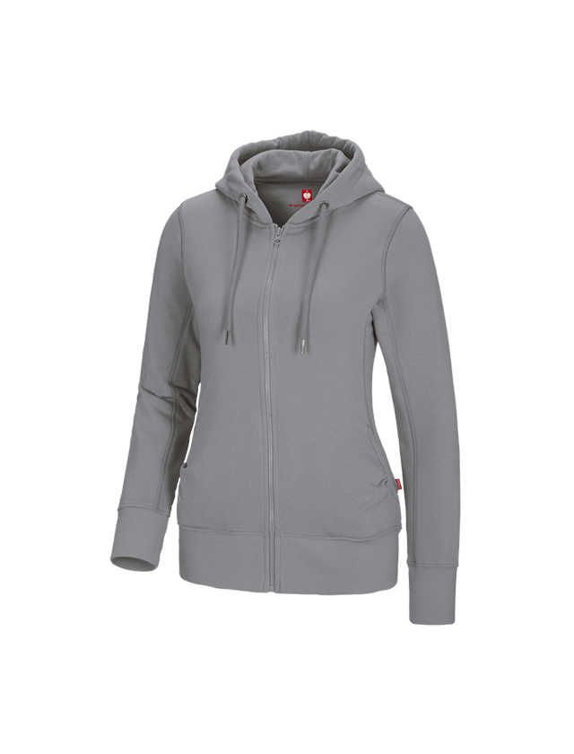 Shirts, Pullover & more: e.s. Hoody sweatjacket poly cotton, ladies' + platinum