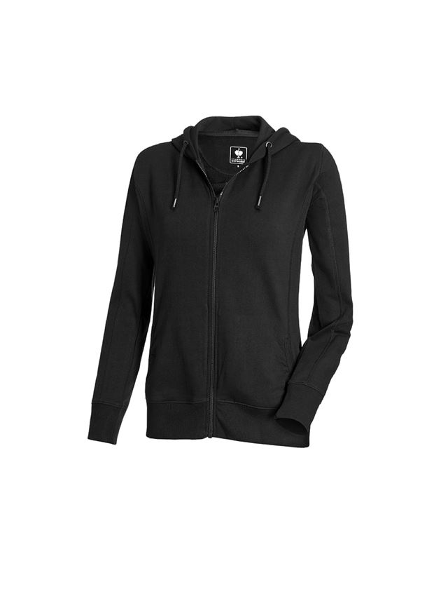 Shirts, Pullover & more: e.s. Hoody sweatjacket poly cotton, ladies' + black