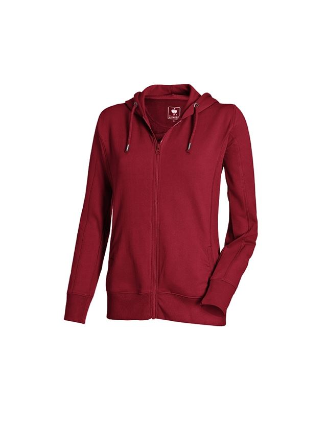 Shirts, Pullover & more: e.s. Hoody sweatjacket poly cotton, ladies' + bordeaux