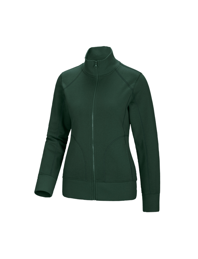 Shirts, Pullover & more: e.s. Sweat jacket poly cotton, ladies' + green