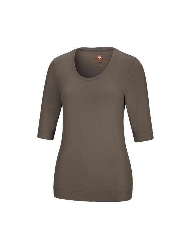 Shirts & Co.: e.s. Shirt 3/4-Arm cotton stretch, Damen + stein