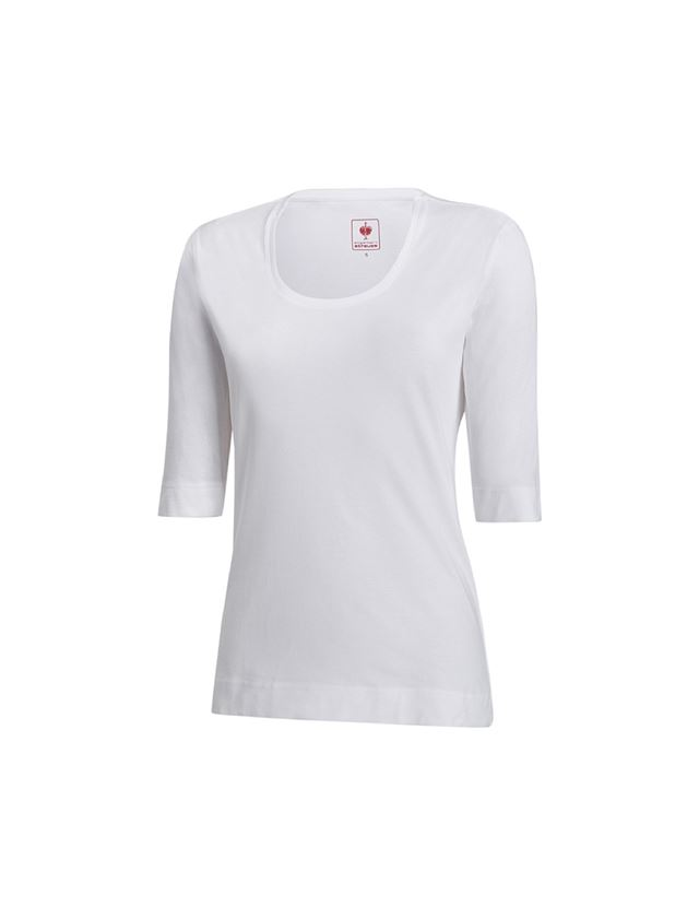 Shirts, Pullover & more: e.s. Shirt 3/4 sleeve cotton stretch, ladies' + white
